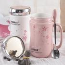 少女心創意個性潮流陶瓷杯子馬克杯帶蓋勺牛奶杯女家用櫻花水杯