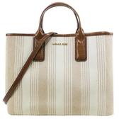 【南紡購物中心】MICHAEL KORS GREENWICH直條紋手提斜背兩用包-米