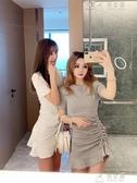 潮流女裝新款短裙褶皺包臀魚尾裙女洋裝 俏女孩