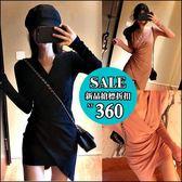 克妹Ke-Mei【AT49645】chic設計風!深V下不規則開叉名媛連身洋裝
