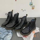 靴子女系帶平底機車短靴騎士軍靴馬丁靴休閒【橘社小鎮】