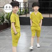 男童套裝童裝男童夏裝套裝新款大童兒童短袖男孩帥氣運動兩件套潮夏季