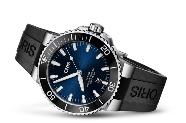 ORIS Aquis 時間之海300米潛水機械錶(0173377304135-0742464EB)藍面黑膠/39.5mm
