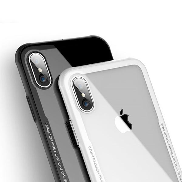 限量促銷 鋼化玻璃殼 iPhone XS 手機殼 矽膠軟邊 保護殼 透明 散熱 保護套