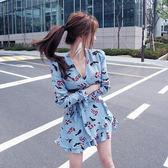 韓版度假優雅碎花印花連身裙連身短裙沙灘裙洋裝