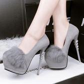 真皮性感超高跟鞋子 細跟圓頭防水臺高跟鞋《小師妹》sm1363