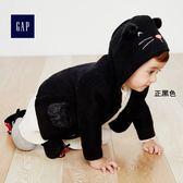 Gap女嬰兒 萬聖節系列貓咪圖案平織長袖連帽針織衫 362922-正黑色