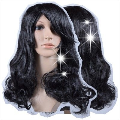 【旁分.斜瀏海長捲髮造型】人戴全頂假髮(化纖)0016#K2自然黑 [43327]