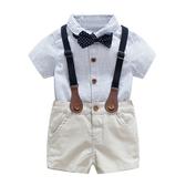 全館83折嬰兒小西裝夏天 短?條紋襯衫背帶 短吊帶褲波點領結滿月套裝