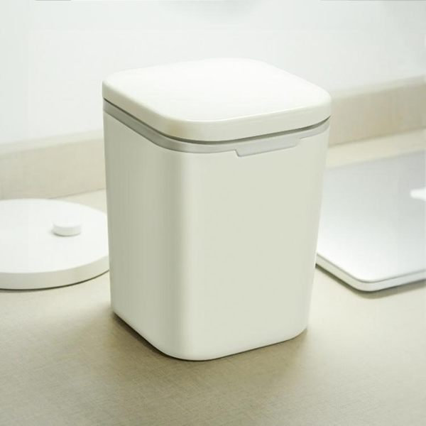 簡約按壓式桌面垃圾桶創意迷你帶蓋小號客廳廚房辦公桌收納桶【米蘭街頭】