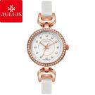 JULIUS 聚利時 宮廷華服鑽飾復古皮錶帶腕錶-氣質白/27mm 【JA-846C】