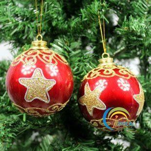 聖誕樹裝飾 歐式精品訂制掛件 彩繪紅彩球 3個裝