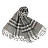 BURBERRY 經典格紋喀什米爾羊毛圍巾(灰色)089540-5