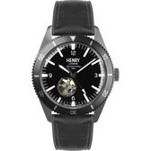 【台南 時代鐘錶 Henry London】英倫復古風潮 運動風格機械錶 HL42-AS-0332 黑 42mm