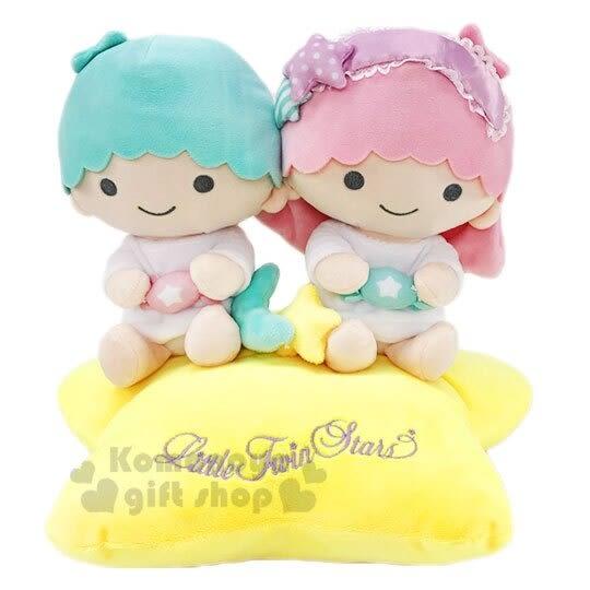 〔小禮堂〕雙子星 絨毛玩偶娃娃《M.粉綠.坐星星》擺飾.玩具 4901610-39813