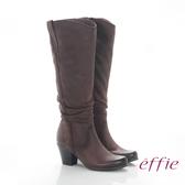 effie 魅力時尚 復古素面拼接抓皺粗跟長靴  咖啡