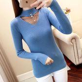 秋冬新款網紅針織衫半高領性感蕾絲破洞毛衣女厚款純色打底衫套頭