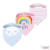 三角口水巾 圍兜兜三件組 純棉防水按扣 開心小雲朵 (嬰幼兒/寶寶/兒童/小孩/小朋友)