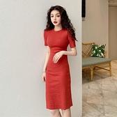 短袖洋裝 2021年新款女中長款寬鬆顯瘦休閒短袖少女T恤裙夏季復古洋裝潮【快速出貨】
