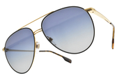 BURBERRY太陽眼鏡 B3108 10174L (黑金-漸層藍鏡片) 飛官金屬雙槓款 # 金橘眼鏡