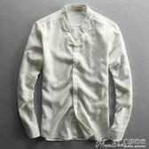 亞麻長袖襯衫春夏新款亞麻襯衫男士長袖修身透氣立領襯衣男款休閒麻布 曼莎時尚