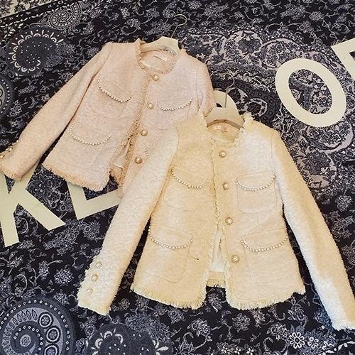毛呢外套-短版小香風粗花呢編織毛邊女大衣2色73zg42【巴黎精品】