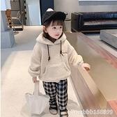 女童連帽外套 女童秋冬加絨衛衣冬裝新款上衣兒童加厚毛毛衣寶寶羊羔毛外套 瑪麗蘇