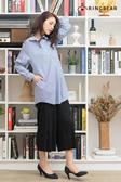 條紋--慵懶率性寬鬆線條側身雙口袋圓弧下襬長袖襯衫(藍L-2L)-I106眼圈熊中大尺碼