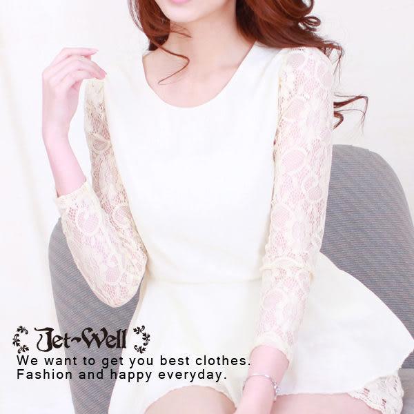 上衣 韓版蕾絲袖雪紡造型上衣(版型較小) 3C0406  現貨 JET-WELL