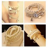 多元素艾菲爾鐵塔珍珠複古手鐲 飾品多層手鏈