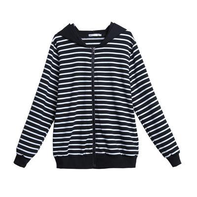 【YOUNGBABY中大碼】黑白條紋連帽拉鍊織衣外套