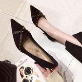 高跟鞋女 秋冬季新款百搭網紅法式少女紅色高跟鞋細跟尖頭黑色性感單鞋 櫻花本鋪
