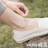 清新s925純銀有聲會響聲帶鈴鐺腳鍊女士細日韓版個性簡約學生森系