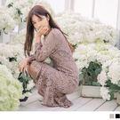 《DA6241-》魚尾裙襬拼接純色蕾絲長洋裝 OB嚴選