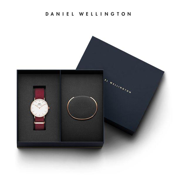 Daniel Wellington DW 禮盒 36mm玫瑰紅織紋錶+時尚奢華手鐲-S