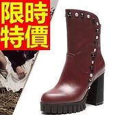 真皮短靴-流行高雅街頭風高跟女靴子2色62d79[巴黎精品]
