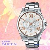 CASIO 手錶專賣店 CASIO 手錶 SHE-3806D-7B SHEEN 女錶 指針錶  不鏽鋼錶帶 50米防水 礦物玻璃