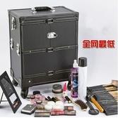 全新大號復古理發箱紋繡箱多層大容量化妝包專業拉桿萬向輪化妝