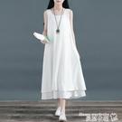 棉麻洋裝 中國風無袖雙層裙子棉麻大擺裙亞...