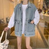 牛仔馬甲女外穿2019新款韓版寬鬆馬夾背心中長款無袖坎肩外套春秋 嬌糖小屋