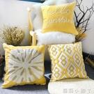 三月兮 刺繡絨線靠墊套北歐黃色全棉柔軟抱枕美式樣板房沙發靠枕 NMS蘿莉新品