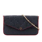 【LV】Monogram 牛皮附活動式零錢袋/鈔票袋鍊包(海軍藍/紅色) M64099