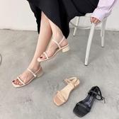 夏新款仙女風一字扣帶中跟露趾粗跟涼鞋潮女潮 - 風尚3C