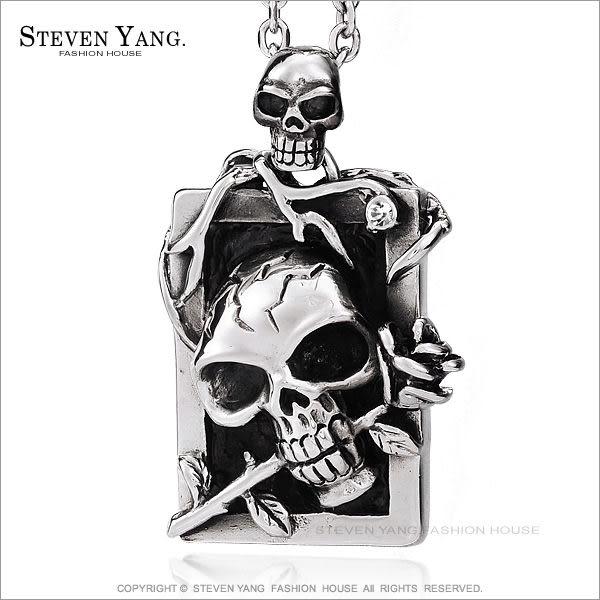 項鍊STEVEN YANG西德鋼飾「惡夢肖像」骷髏 個性潮男款 附鋼鍊 送刻字