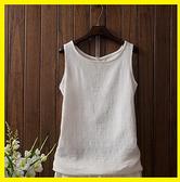 亞麻打底女背心大碼外穿無袖上衣吊帶薄款白色打底女棉麻寬鬆夏季
