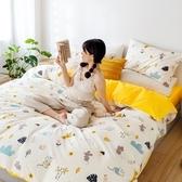 【eyah】台灣製200織精梳棉雙人床包新式兩用被五件組-新一年吉祥物