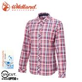 【Wildland 荒野 女 彈性格紋內刷毛保暖襯衫《丁寧藍》】0A72201/格紋衫/運動衣/休閒衫/薄外套