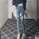 熱賣窄管褲 高腰牛仔褲2021年春裝新款夏季緊身顯瘦破洞鉛筆藍色小腳褲子女士 coco