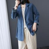 外套 秋裝新款文藝大碼純色休閑百搭西裝外套遮肉顯瘦長袖西服上衣