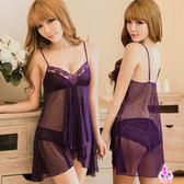 睡衣 性感睡衣 魅紫薄紗透視f情趣性感睡衣 星光密碼C085